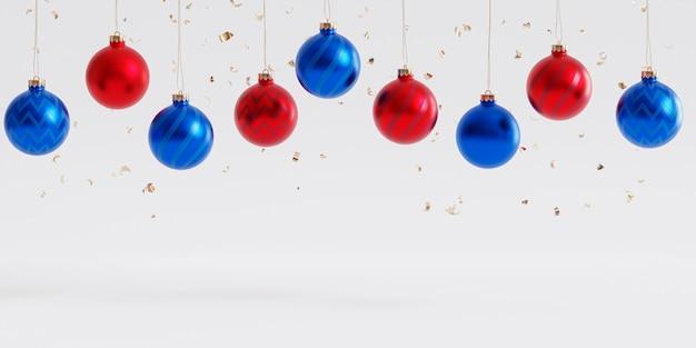 クリスマスまたは年末年始の背景、赤と青のつまらないもの、3dレンダリング
