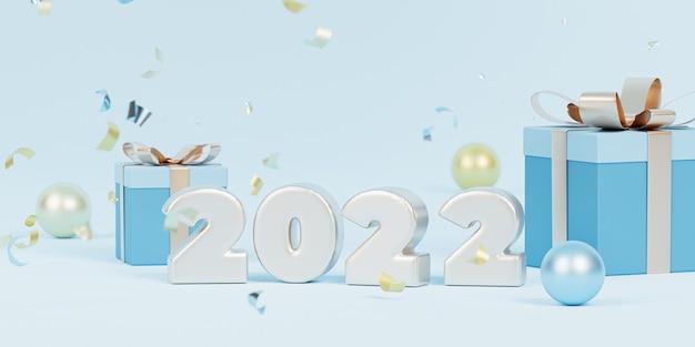 クリスマスまたは年末年始の背景、紙吹雪とギフトボックス付きの光沢のある2022年の手紙、3dレンダリング