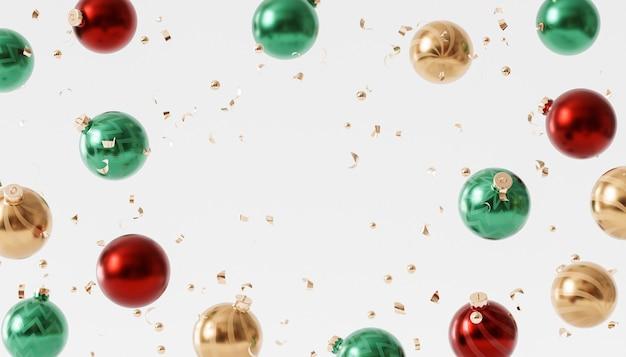 クリスマスや年末年始の背景、紙吹雪と光沢のあるつまらないもの、3dレンダリング