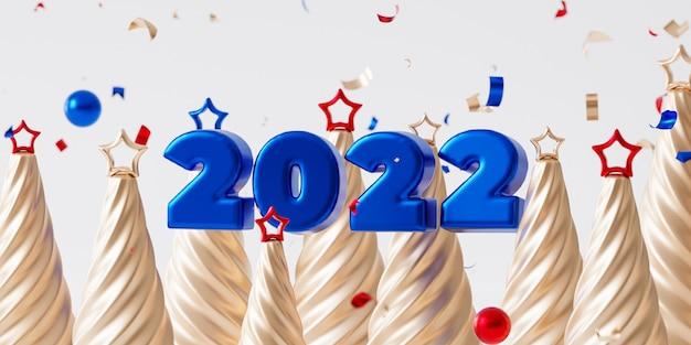 クリスマスや年末年始の背景、光沢のある青い2022文字、紙吹雪、星とモミの木、3dレンダリング