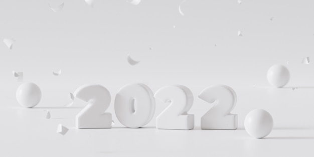 クリスマスまたは年末年始の背景、紙吹雪と白い2022文字、3dレンダリング