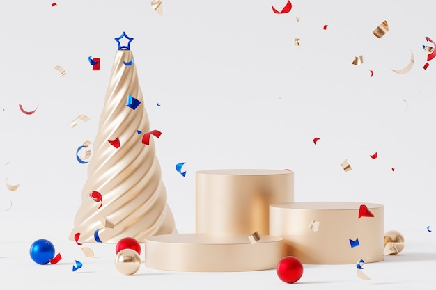 クリスマスまたは年末年始の背景に金色の表彰台または台座、紙吹雪、星のあるモミの木、3dレンダリング