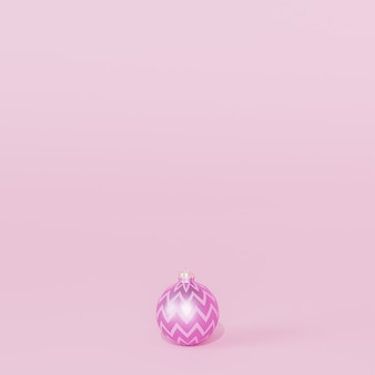 Рождественские или новогодние праздники фон с одной фиолетовой безделушкой или орнаментом, 3d визуализация