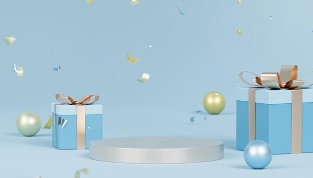 表彰台または台座、紙吹雪、ギフトボックス、3dレンダリングでクリスマスや年末年始の背景