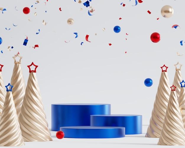 光沢のある青い表彰台または台座、紙吹雪、星とモミの木、3dレンダリングでクリスマスや年末年始の背景