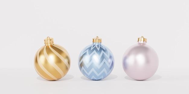 Рождественские или новогодние праздники баннер фон с золотыми и синими шарами или украшениями, 3d визуализация