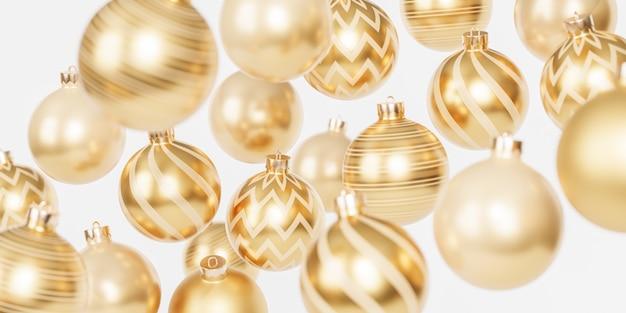 Рождественские или новогодние праздники баннер фон с золотыми шарами или украшениями, 3d визуализация