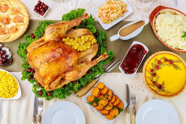 호박 파이와 함께 크리스마스 또는 tanksgiving 요리.