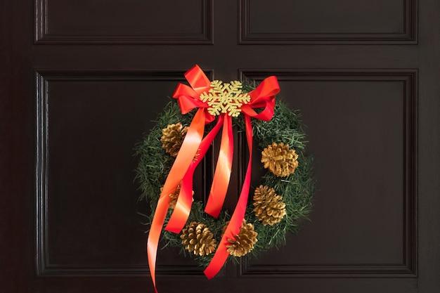 Christmas ornament on a door
