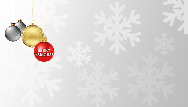 Christmas ornament on snowflake background