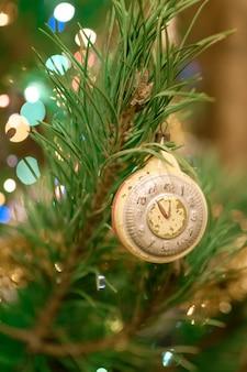 Christmas ornaments on the christmas tree.