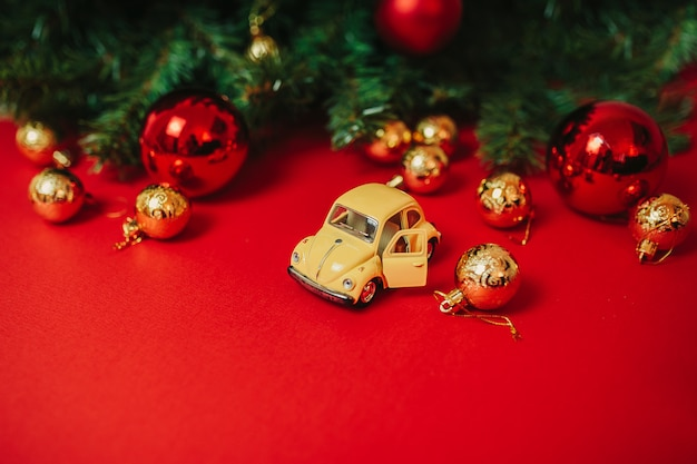 Christmas ornaments on the red background