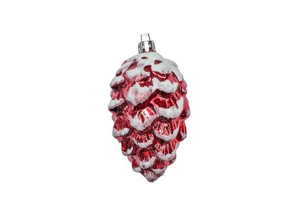 クリスマスの装飾品白い背景で隔離の赤い松ぼっくり