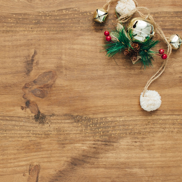 Christmas ornaments with copy space on left