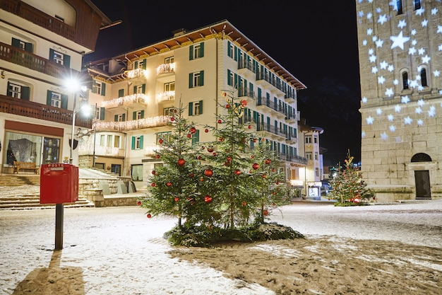 Christmas ornated trees in cortina town