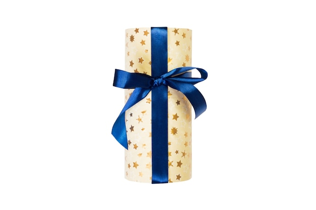 Christmas or other holiday handmade present in gold paper with blue ribbon
