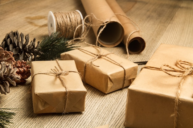 Christmas packages on a wooden table