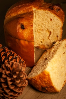 Christmas panettone with raisins and dried fruits