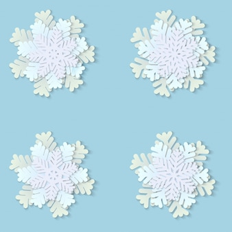 Christmas paper snowflakes with shadow