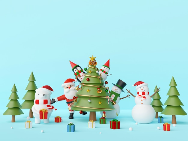 Christmas party santa claus and friend with christmas tree 3d rendering