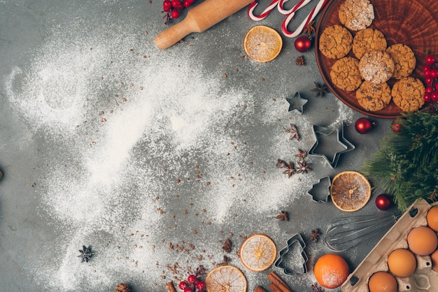 Christmas pastry cooking, christmas cooking festive concept