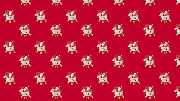 赤い背景の上の贈り物とロッキングホースのクリスマスパターンサンタクロース