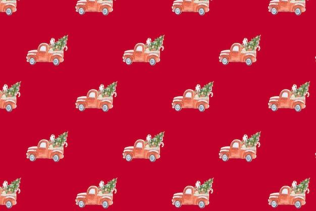 赤い背景にクリスマスツリーを運ぶクリスマスパターンのおもちゃの車