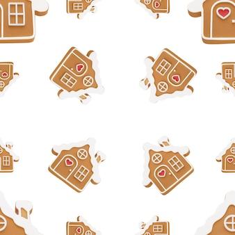 クリスマスのパターンのシームレスなジンジャーブレッドの家は白い背景で隔離クリスマスの背景