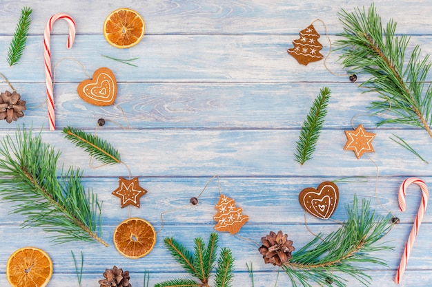 Christmas pattern with fir tree pine branches