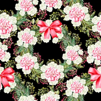 Christmas pattern with flowers and ribbon