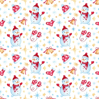 Christmas pattern with watercolor cartoon snowman. kids illustration for wrapping paper, textile, decorations.