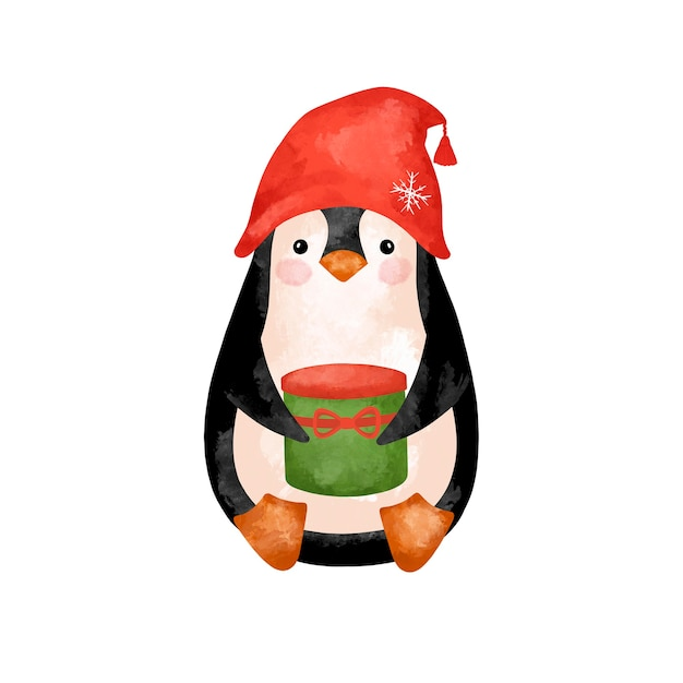 Christmas penguin isolated stock illustration, watercolor penguin in red hat with presents