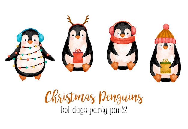Christmas penguins clipart, north pole animals decoration, new year decor, kids decoration