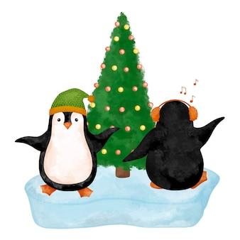 Christmas penguins clipart