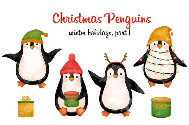 Christmas penguins in hat clipart, new year funny animals decoration, cute decor, printable