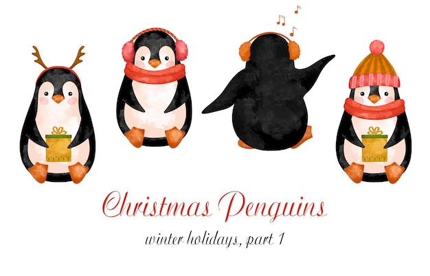 Christmas penguins in hat clipart, north pole animals decoration, new year cute decor, watercolor
