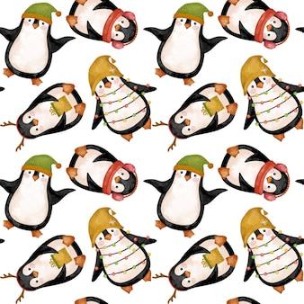 Christmas penguins watercolor drawing