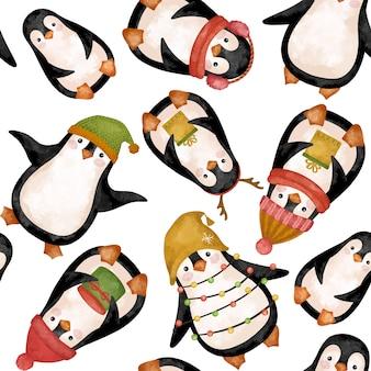 Рождественские пингвины акварельный рисунок