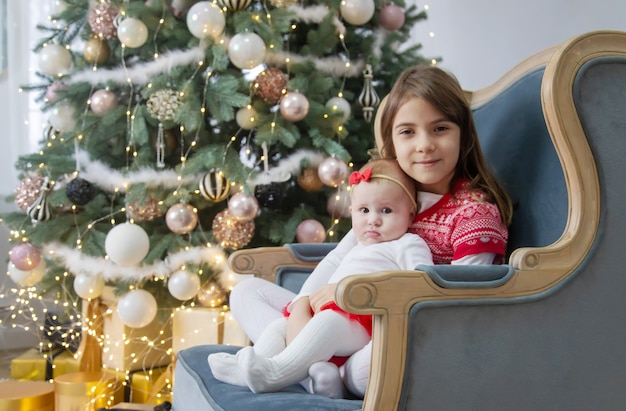 Christmas photo of children new year. selective focus. holiday.