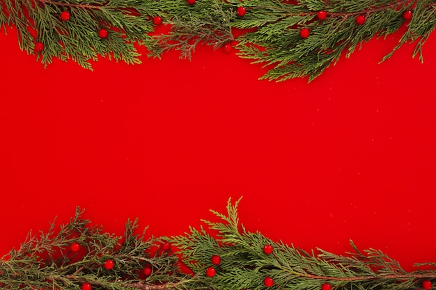 Christmas pine leaves on a red frame background with copyspace
