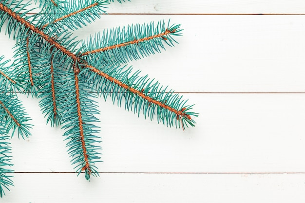 Christmas pine tree branches on wooden board.