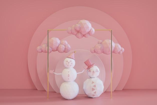 雪だるまと雲のコレクション3dレンダリングとクリスマスピンクの表彰台のシーン