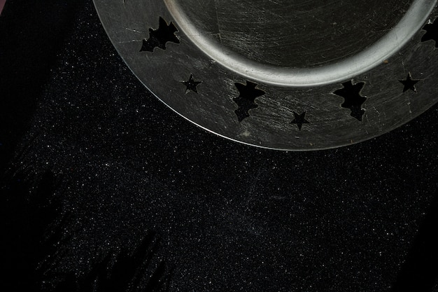 Christmas plate on black table