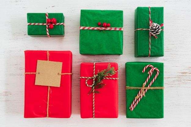 Christmas present gift boxes collection with tag for merry christmas and new year holiday. view from above.