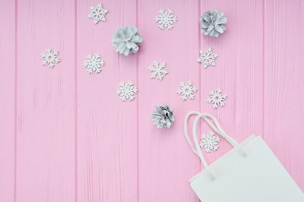 Christmas present wrapping background. flat lay with white craft package