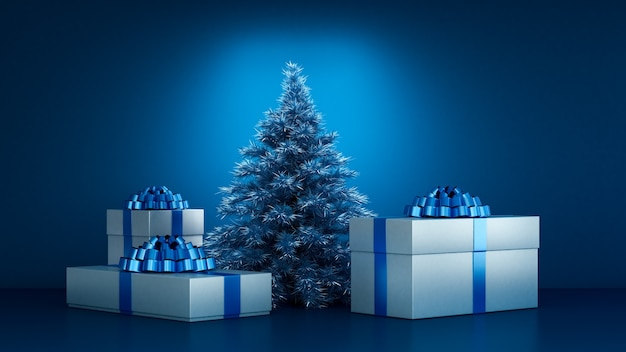 Christmas presents under the christmas tree 3d illustration rendering