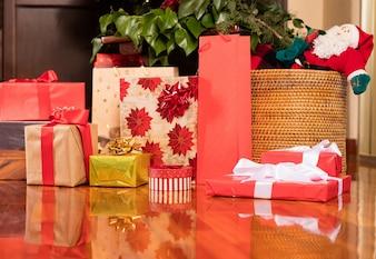 Christmas presents on a living room