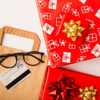 Christmas presents preparation with gift boxes and colorful bows