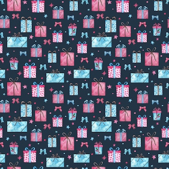 Christmas presents seamless pattern. watercolor illustration of pink and blue gift boxes with stars on blue background.