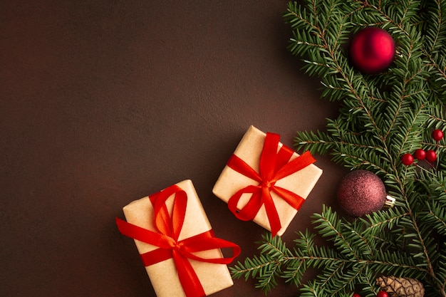 Christmas presents with copy space